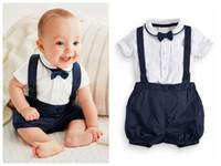 neugeborene outfit-sets groihandel-Neugeborenes Baby-Outfit Niedliches Baumwoll-T-Shirt und Overalls für 0-24 M Baby-T-Shirt + kurzes 2-teiliges Outfit für Kleinkinder