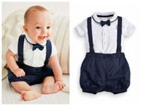 Wholesale formal boys clothes - Newborn baby boy outfits Cute cotton T-shirt and overalls set for 0-24M baby T-shirt+short 2pcs suit infant clothes outfit