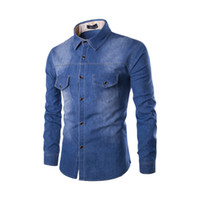 7f0ac113179 2018 mens Solid color coon Denim shirt Chest double pocket slim Long-sleeved  jean shirt Single-breasted Washed plus size