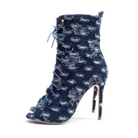 Wholesale denim shorts boots - Sexy Denim Peep Toe High Heel Boots Fashion Cross Straps Short Boots Women Spring Hollow Thin Heels Shoes Blue Party Shoes