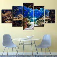Wholesale fish oil wall paintings - Canvas Wall Art Pictures Framework 5 Pieces Underwater Sea Fish Coral Reefs Paintings HD Prints Seascape Posters Home Decor Room