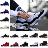 Wholesale dj canvas - 2018 DJ 11 women men basketball Shoes Low Metallic Gold Closing Ceremony Navy Gum Blue white red bred concord sports sneakers size US 5.5-13