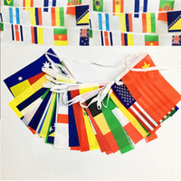 Wholesale hot countries flags for sale - Group buy Hot Russia World Cup String flag country cm Bar decoration banner Garden Flags American style Party Decorations Home Decor T1I330