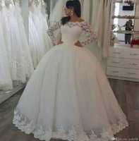 Ball Gown Wedding Dress for sale - 2018 high quality wedding dress with sleeves and luxury beads and pearls on skirt wedding gown