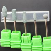 limas de piedra al por mayor-1 unids Verde Color de Cerámica Piedra Clavo Brocas de Manicura Accesorios Accesorios de la Máquina Cortador de Uñas Nail Art Herramientas