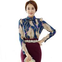 camisa coreana do chiffon das senhoras venda por atacado-Mulher Camisas Chiffon Blusa 2018 Outono Feminino Camisa Impressa Coreano Moda de Manga Comprida Escritório Senhoras Camisa Profissional Tops Blusas
