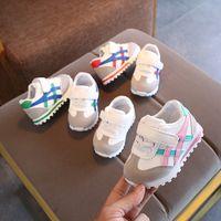 ingrosso primi camminatori rossi-0-3 anni di età bambino morbido inferiore Toddler Shoes Sneakers casual a righe per bambini antiscivolo Scarpe da corsa Size15-25