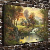 ingrosso arredamento di montagna-Thomas Kinkade Mountain Retreat, stampe su tela Wall Art Oil Painting Home Decor (Senza cornice / Incorniciato)