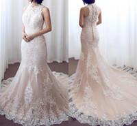 jóias online venda por atacado-2018 Lace rosa sereia vestidos de casamento sem mangas Jewel Neck Lace apliques vestidos de noiva Longo Custom Made Online