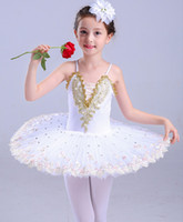 Wholesale dance girls little - Professional Sequins Little Swan red blue white ballet dance tutu dress for Children girl performance dress