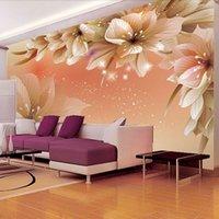 stoff fotopapier großhandel-Benutzerdefinierte 3D Foto Tapete Moderne Blume Wandbild Wand Papier Wohnzimmer Sofa TV Hintergrund Vliesstoff Tapete Schlafzimmer