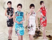 vintage chinese ipek cheongsam elbise toptan satış-Şangay Hikayesi 2018 cheongsam elbise vintage Vinç baskılı Cheongsam Elbise Çin geleneksel Sahte Ipek Qipao 4 renk