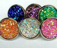 Wholesale Dome Jewelry - colorful Handmade Druzy Drusy Resin Dome Seals Cabochon Round Earrings Fashion Trendy Woman Jewelry