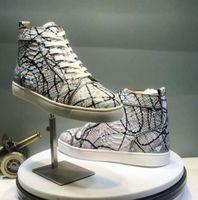 kalk schuhe großhandel-2019 designer Brand Studded Spikes Flats Schuhe Rote Bottoms Schuhe Mens Womens Party Hochzeit Schuhe Liebhaber Echtes Leder Sneakers Größe 36-47