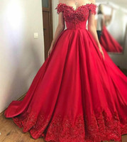 Wholesale sequin beaded satin ball - High Waist Ball Gown Prom Dress Off Shoulder Satin with Floral Applique Beads Sequins Sweep Train Evening Gowns Lace up Back
