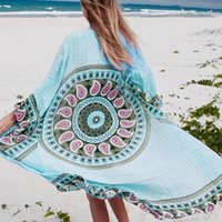 Wholesale Robes Plage - 2018 Beach Cover up Long Beach Cotton Dresses Tunic for Beach Pareos Robe de Plage Print Women Beachwear Bikini Cover up