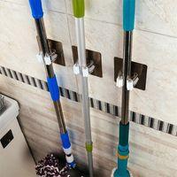 hook clip hanger Canada - Wall Hanger Mop Clip Hook Stainless Steel Multi Function Broom Water Proof Plastic Transparent Kitchen Organizer Frame Storage Rack 2 5jt bb