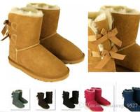 venta de botas de invierno arco al por mayor-Precio bajo VENTA CALIENTE Nueva moda de Australia botas bajas de invierno clásicas de cuero real Bailey Bowknot de las mujeres bailey arco botas de nieve Precio bajo53