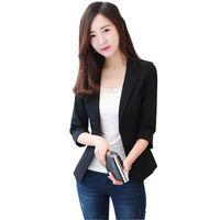 Wholesale Three Quarter Sleeve Suit Jacket - Ladies Blazers and Coats Office Wear Small Suit Bodycon One Button Chiffon Blazer Jackets Three Quarter Sleeve Women Coat Female