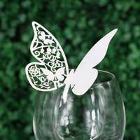 cartes de visite papillon achat en gros de-Laser Cut Place Cartes Avec Papillon Papier Coupe Nom Cartes Pour Party Place Cartes De Mariage Décorations PC1002