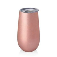 Wholesale Glass Art Sale - Pre Sales 6oz Wine Tumblers stemless Flute Rose Gold Stainless steel wine glasses tumbler Double Walled Vacuum Insulated egg cups with lid