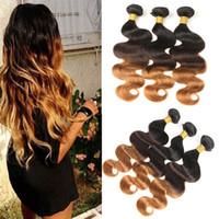 perulu saç ücretsiz gönderim toptan satış-3 Paketler 300g Perulu Ombre Gerçek Vücut Dalga Atkı 100% İnsan Saç Uzantıları T1B / 4/30 Ücretsiz Kargo