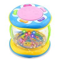 lustige baby-rasseln großhandel-LED Musik Frühe Pädagogische Lernen Baby Rasseln Lustige Infant Entwicklungsspielzeug Mini Magic Kinder Hand Drum Beat