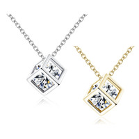 Wholesale gold cubes necklace - 4 Colors 925 Sterling Silver&Gold Chokers 8mm Crystal Square Cube Diamond Pendant O Shaped Necklaces Wedding Vintage Jewelry