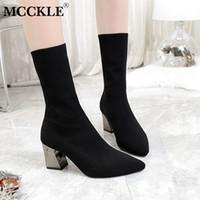 saltos de blocos grossos venda por atacado-MCCKLE Moda Feminina Thick Block Heel Botas Metade da Panturrilha Feminino Sapatos de Salto Alto Dedo Apontado Deslizamento Em Sapatas do estiramento Senhoras Calçado