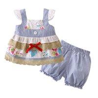 ingrosso vestiti del bambino per la vendita-2018 nuovi vestiti di vendita delle neonate appena nati che coprono 2 pc: Vestiti infantili del bambino di estate della principessa della maglietta + della mutanda