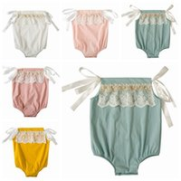 Wholesale Lace Binding - 2018 summer toddler girl lace rompers tie bind onesies baby boutique clothing infant clothes off the shoulder tops cotton jumpsuits newborn