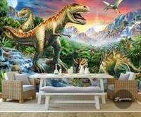 детские фрески динозавров оптовых-Оптовая продажа-пользовательские 3D обои для стен 3d фото обои фрески лес камень река мир динозавр животных стены искусства детская комната спальня дома
