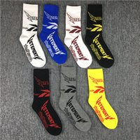 Wholesale yellow ankle socks - VETEMENTS 2018 Hot Socks Tide Brand Teenager Student Hip Hop Sockings Skateboard Long Sock Letter Athletes Leg Warmers Men Women Basketball