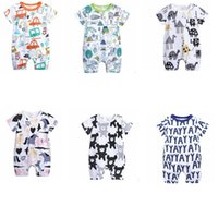 Wholesale open crotch shorts - Baby boy Unicorn Jumpsuit comfortable baby clothing open shoulder Crotch animals cartoon letter printed Romper for newborn outfit KKA5587