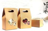 ingrosso scatole di finestra del cuore-150 Pz / lotto 10 * 15.5 * 6 cm Bottom Cuore Forma Chiaro Finestra Doypack Pouch Cibo Caffè Stand Up Borse Kraft Paper Pack Con Manico