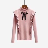 jersey de suéter dulce al por mayor-2018 Nuevo Otoño Invierno Diseñador Runway Mujeres Suéter Pullover Tops Sweet Bow Tie Ruffles Cuello alto de punto Suéteres de punto básicos