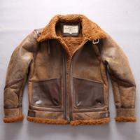 кожаная куртка с меховой подкладкой оптовых-коричневый AVIREXFLY овчины кожаные куртки мужчины ягненка меховая подкладка внутри B3 ТОП кожаная куртка с карманом
