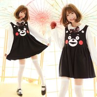 Wholesale Woman Bear Costume - NEW Super Cute Japanese Anime Kumamon Vest Dress Cosplay Costume Long Dress Lovely Cartoon Bear Black color Dress for girl