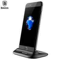 suporte de mesa para celular venda por atacado-Baseus carregador de mesa para iphone x 8 desk dock station suporte do telefone suporte para iphone 5 6 6 s carregamento rápido carregador do telefone móvel