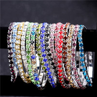 Wholesale silver stretch cuff resale online - 3 mm Row Rhinestone Crystal Bracelets Stretch Bracelet Bangle Cuffs for Wedding Jewelry Gift Colors Gifts