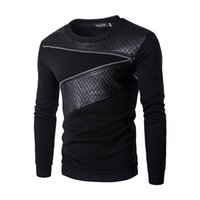 Wholesale leather sleeve sweatshirt men - Spring Leather Patchwork Hoodies Mens Zipper Decoration Sweatshirt Mens Casual Slim Coat Fashion Men's Clothes Hoodies Black M-5XL