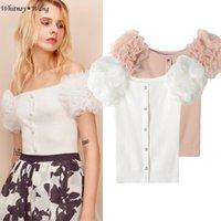 Wholesale White Ruffle Cardigan - WHITNEY WANG 2018 Summer Fashion Streetwear Sexy Slash neck Mesh Ruffled Puff Sleeve Knitted Tops Women Cardigans Sweater jumper