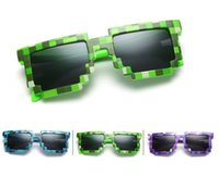 Wholesale wholesale pixel sunglasses online - Mosaic Sun Glasses Vintage Square Novelty Pixel Sunglasses Kids and Adults Trendy Glasses Colors