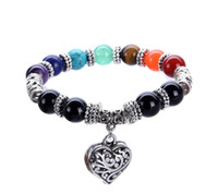 Wholesale Tiger Eye Bracelet For Women - JLN New Heart Pendant Chakra Bracelets Tiger Eye Yoga Bracelet Natural Multi Color Stone Charm Bracelet For Women Man