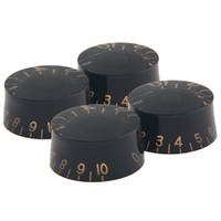kulp şapkası toptan satış-4-Piece Siyah Akrilik + Plastik Top Hat Gitar Hız Çan Topuzu Ses Tonu Kontrol Düğmesi 6mm