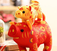 Wholesale toys companies for sale - Group buy 16cm Home Decoration Pig Year Mascot Simulation Zodiac Pig Plush Toy Doll Auspicious Pig Company Creative Fashion Gift