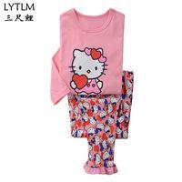 4dd3ba17b LYTLM Hello Kitty Otoño Bebé Niñas Pijamas Conjuntos Traje de Deportes de  Manga Larga T-shirt + Pantalones Niños Conjuntos de Ropa para Niños ropa de  Dormir