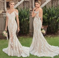 Wholesale beads base for sale - Group buy Garden Beautiful Off The Shoulder Sexy Wedding Dresses Bridal Gowns Split Front Lace Appliqued Bridal Dresses Wedding Gown Nude Base