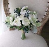 ingrosso bouquet bianco verde nuziale-100% Hi-Q finto tè bianco rosa verde piante schiuma Berry mirtillo artificiale fiore bouquet da sposa bouquet da sposa bouquet della sposa