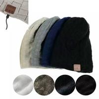 Wholesale built headphone resale online - Unisex Winter Hat Men Women Wireless Bluetooth Thick Knit Beanie Hat Built in Stereo Headphone Earphone Microphone Gorros MMA772